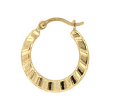 Ruffle 14k Yellow Gold Hoop Earrings