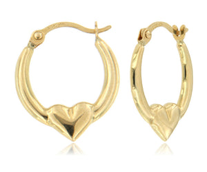 Mini Heart 14k Yellow Gold Hoop Earrings ☉Micro Collection☉