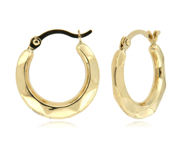 Subtle Detailed 14k Yellow Gold Hoop Earrings ☉Micro Collection☉