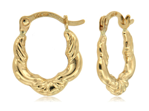 Scalloped Edge Micro Hoop 14k Yellow Gold Hoop Earrings