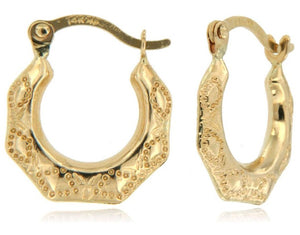 Lace Design 14k Yellow Gold Hoop Earrings ☉Micro Collection☉