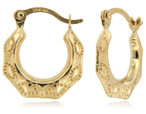Lace Design Micro Hoop 14k Yellow Gold Hoop Earrings