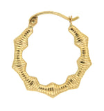 Geometric Bamboo 14k Yellow Gold Hoop Earrings