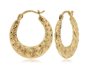 Forever Swirl 14k Yellow Gold Hoop Earrings