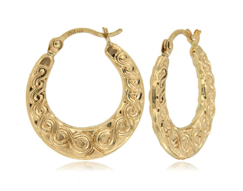 Figure Eight 14k Yellow Gold Hoop Earrings