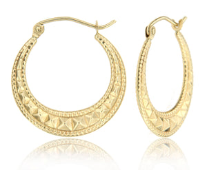 Rockstud 14k Yellow Gold Hoop Earrings