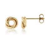 Mini Swirl Love Knot 14k Yellow Gold Stud Earrings