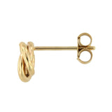 Dainty Swirl Love Knot 14k Yellow Gold Stud Earrings