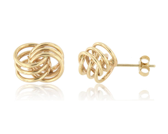 Triple Infinity Love Knot 14k Yellow Gold Stud Earrings