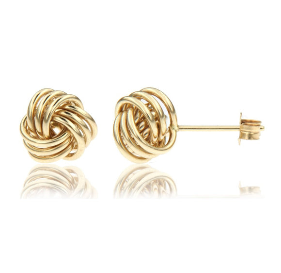 Beautiful 14k yellow gold love knot stud earrings