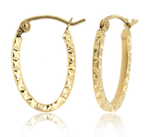 Glam Oval 14k Yellow Gold Square Tube Hoop Earrings