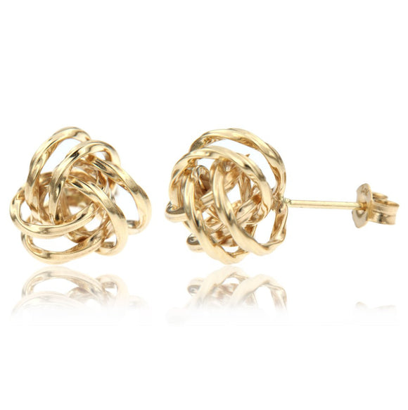 14k yellow gold twisted love knot stud great gift for a loved one