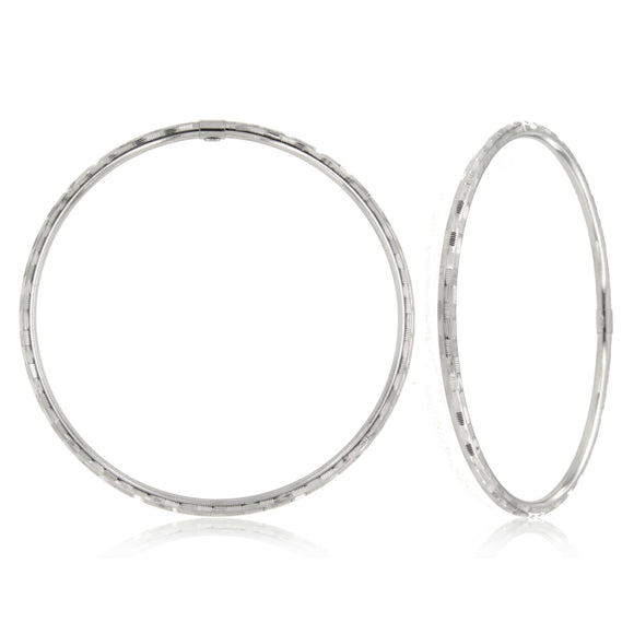Feathered 14k White Gold Bangle