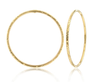 Flower and Dash 14k Yellow Gold Bangle