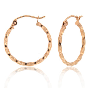 Twisted 14k Rose Gold Hoop Earrings