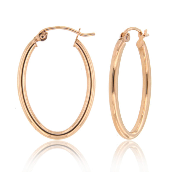 Oval 14k Rose Gold Hoop Earrings