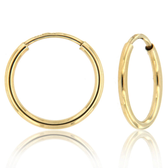 Infinity Elegance 14k Yellow Gold Hoop Earrings ☉Micro Collection☉
