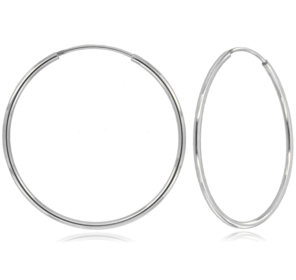 Infinity Dream 14k White Gold Hoop Earrings ⊶Various Sizes Available⊷
