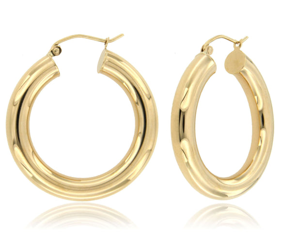 Robust and Sleek 14k Yellow Gold Hoop Earrings ⊶Various Sizes Available⊷