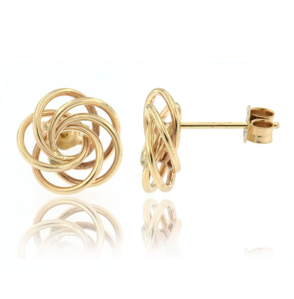 14k yellow gold flower love knot earring