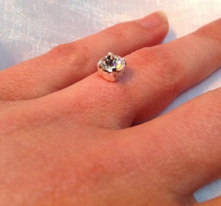 BAGUE SOLITAIRE STRASS BRILLANT SWAROSKI CRISTAL SOLITAIRE