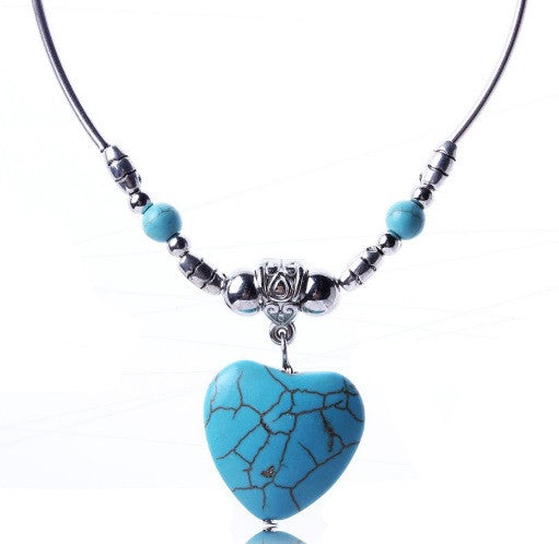 Collier Coeur Turquoise