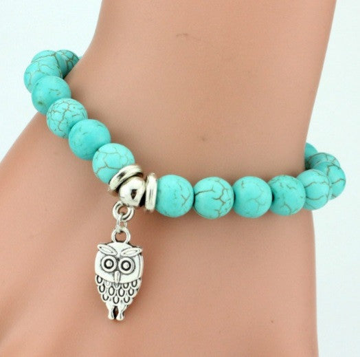 Bracelet Charme Turquoise Chouette