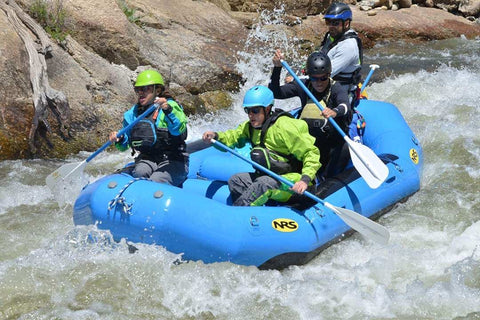 Whitewater Rafting in a Blue Boat on the Arkansas River