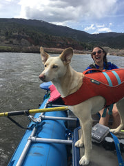 Woman and Dog Rafting the Upper Colorado