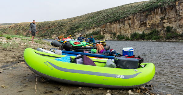 green spud aire inflatable kayak little yampa canyon summer low water