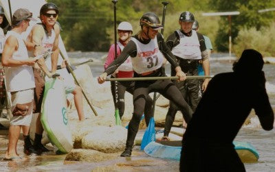 C4 Waterman rep Morgan Mason captures the moment.  This first time SUP boarder steps onto his board before the two-mile class I-II downriver race.