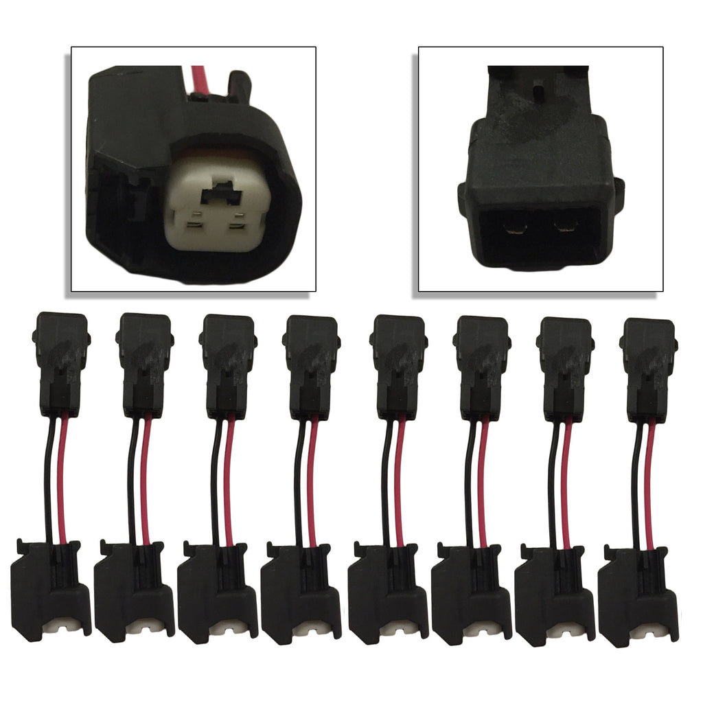 Xtras: Set of 8 LS1/LS6/LT1/EV1 Engine Wire Harness to LS2/LS3/LS7/LSA/Ev14/Ev6 Injector Adapters