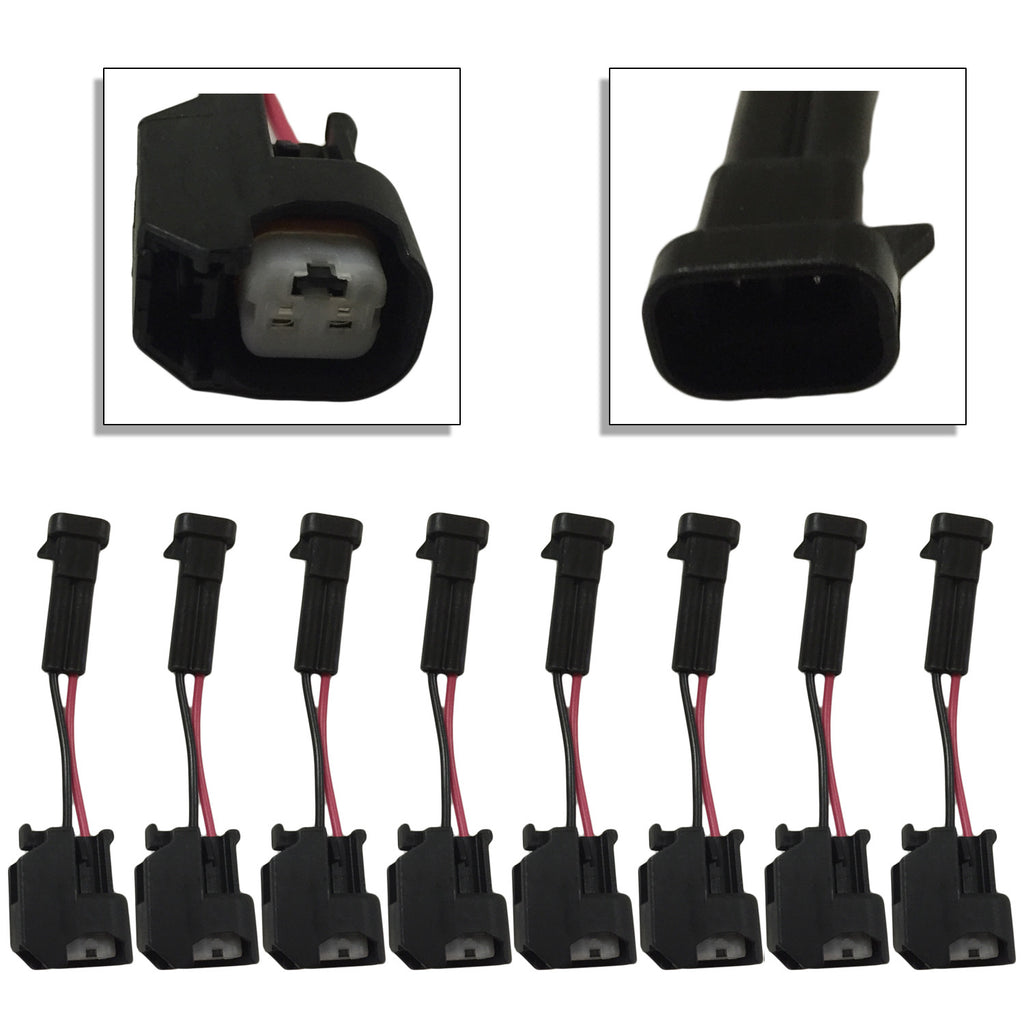 Xtras: Set of 8 LQ4/LQ9 4.8 5.3 6.0 Delphi Wire Harness to LS2/LS3/LS7/LSA/Ev14/Ev6 Injector Adapters