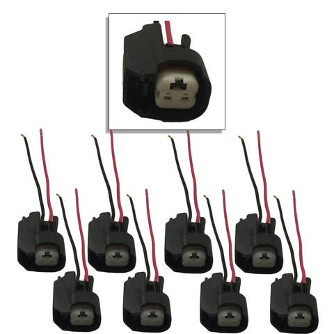 Xtras: Set of 8 Ev14 / Ev6 / OBD2 Injector Plug Connector Pigtails