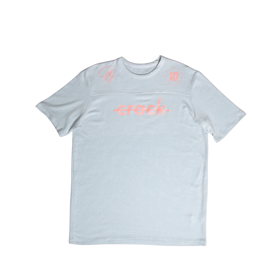 "Crack ""Jersey"" Tee Blue Mint & Salmon"