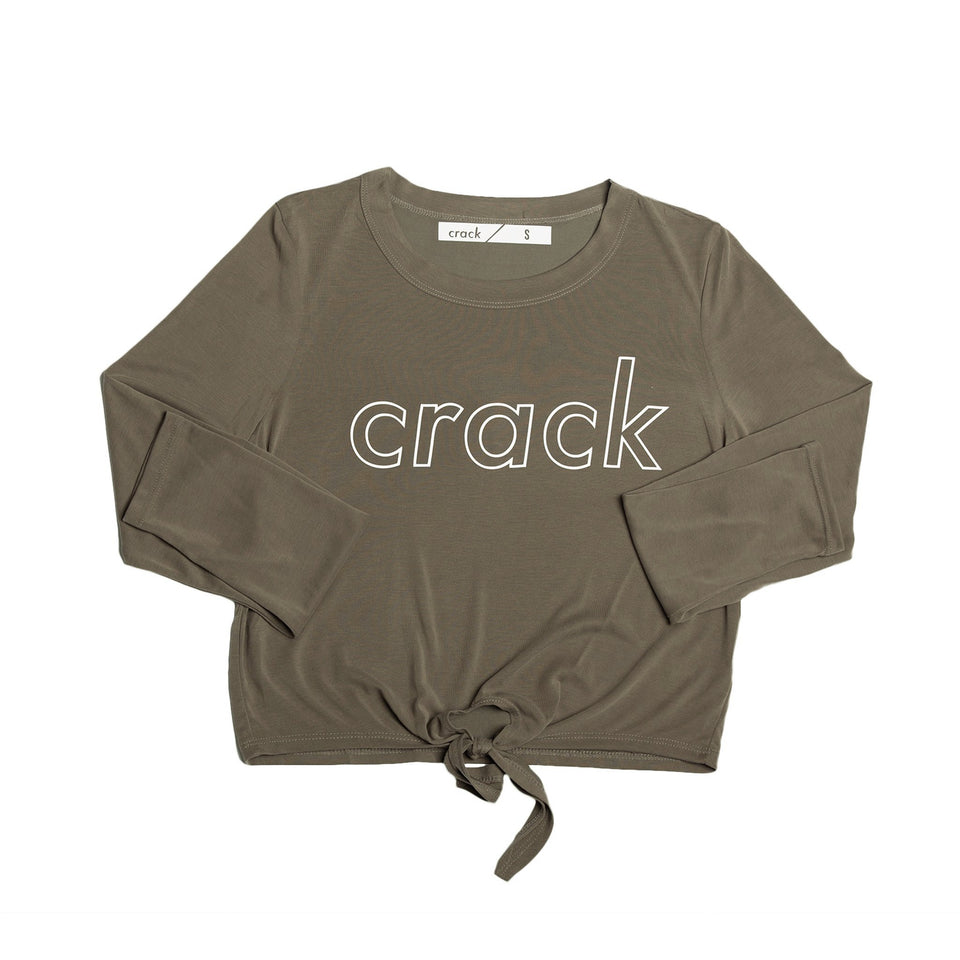 Tie Front Crop Top (Faded Olive Green)