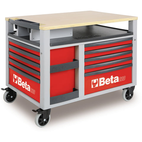 rolling tool boxes beta tools 10drawer supertank trolley rolling toolbox workbench c28 - Rolling Workbench