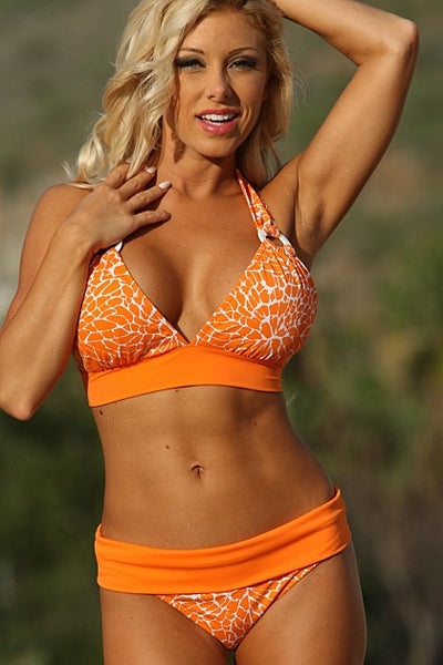 Orange Crush Ring Banded Bikini - Porcupine Lagoon LLC -bikini