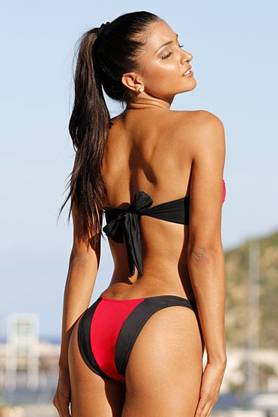 Red and Black Split Strapless Hi-Cut Bikini - Porcupine Lagoon LLC -bikini