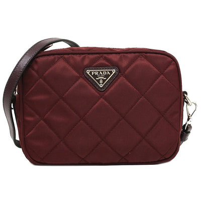 Prada Tessuto Impuntu Quilted Nylon and Leather Crossbody Shoulder Bag BT1028 - Burgundy Crimson Red - Porcupine Lagoon LLC -Designer Bag