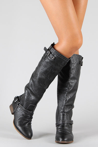 Breckelle Double Buckle Contrast Zipper Riding Knee High Boots - Porcupine Lagoon LLC -Shoes, Boots