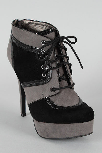 Dollhouse Two Tone Lace Up Platform Bootie - Porcupine Lagoon LLC -Shoes, Booties