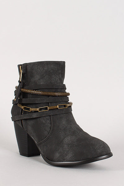 Liliana Strappy Chain Round Toe Cowboy Ankle Booties - Porcupine Lagoon LLC -Shoes, Booties