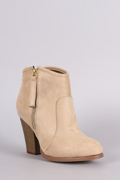 Liliana Zipper Chunky Heeled Western Ankle Boots - Porcupine Lagoon LLC -Shoes, Booties