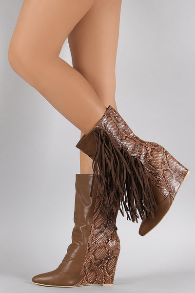 Python Fringe Pointy Toe Mid Calf Wedge Boots - Porcupine Lagoon LLC -Shoes, Mid Calf Boots, Wedges