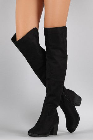 Bamboo Suede Folded Cuff Chunky Heeled Riding Boots - Porcupine Lagoon LLC -Shoes, Boots
