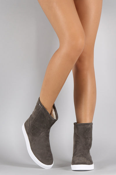 Quilted Suede Round Toe Flat Ankle Boots - Porcupine Lagoon LLC -Shoes, Booties