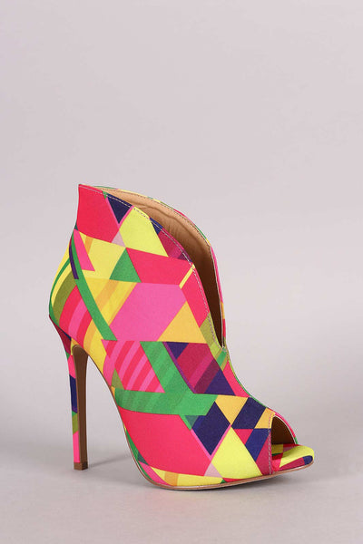 Liliana Multicolor Patterned V-Slit Peep Toe Stiletto Booties - Porcupine Lagoon LLC -Shoes, Booties