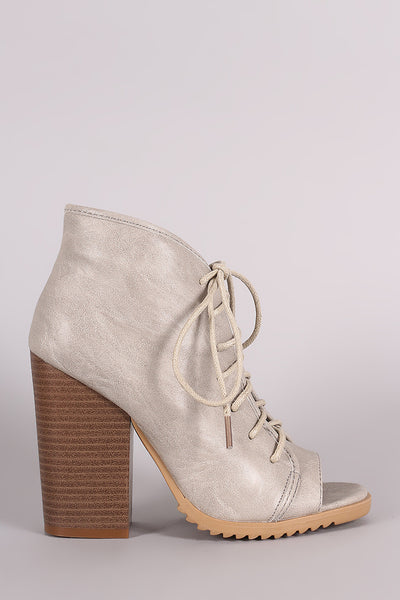 Open Toe Lace-Up Chunky Heeled Booties - Porcupine Lagoon LLC -Shoes, Booties