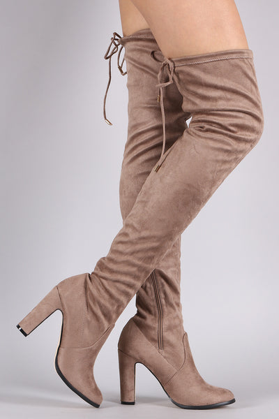 Suede Drawstring Heeled Over-The-Knee Boots - Porcupine Lagoon LLC -Shoes, Boots